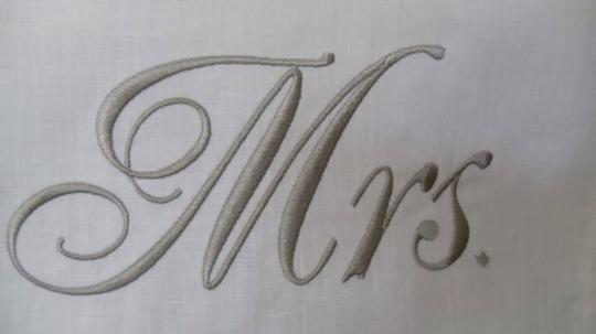Ivory and Gray/Silver Mr. Mrs. Chiavari Chair Toppers Reception Decoration