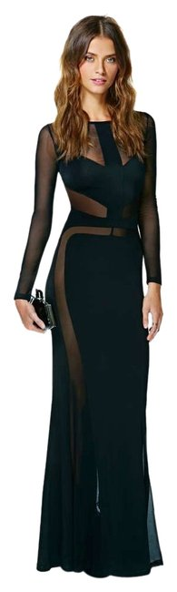 Item - Black Cut Out Maxi Sleeve Long Formal Dress Size 4 (S)
