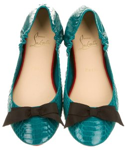 Christian Louboutin Leather Snakeskin Blue Flats
