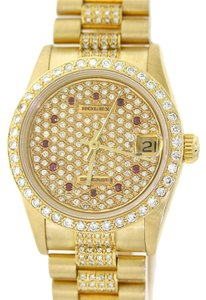 Rolex Ladies Rolex President Midsize 31mm 68278 Solid 18k Yellow Gold Diamond & Ruby Dial Dress Watch