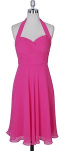 Pink Chiffon Halter Sweetheart Pleated Waist Bust Feminine Bridesmaid/Mob Dress Size 4 (S)