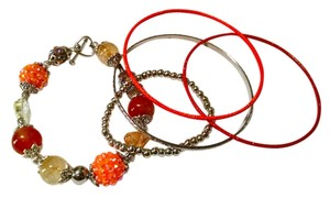 Other Bracelet W/ Bangles Set 5 Piece Orange Silver Agate Gemstone J1197