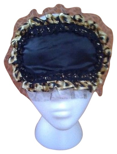 SCI Brand New Black Sleep Mask with Leopard Print Lace