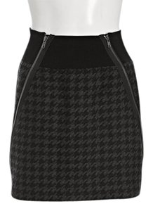 Theory Houndstooth Wool Skirt Black Gray