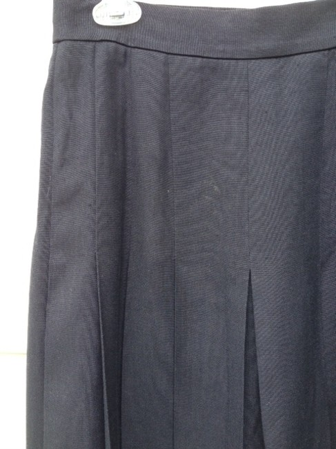 Talbots Classic Pleated Linen Skirt navy blue