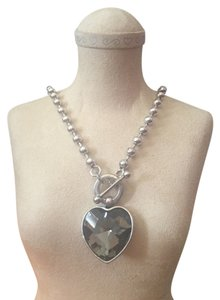 Tangerine NYC Silvertone bead necklace with blingy heart pendant