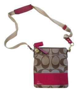 Coach Leather Trim Cross Body Bag