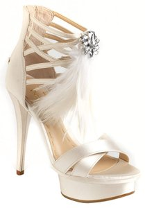 Enzo Angiolini Evening Date Night Night Out Flatform Sandals Wedding Glam Sparkle Feather Satin Heel Accented Detail Round Toe Chic Champagne Formal