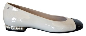 Chanel Patent Leather Ivory Flats