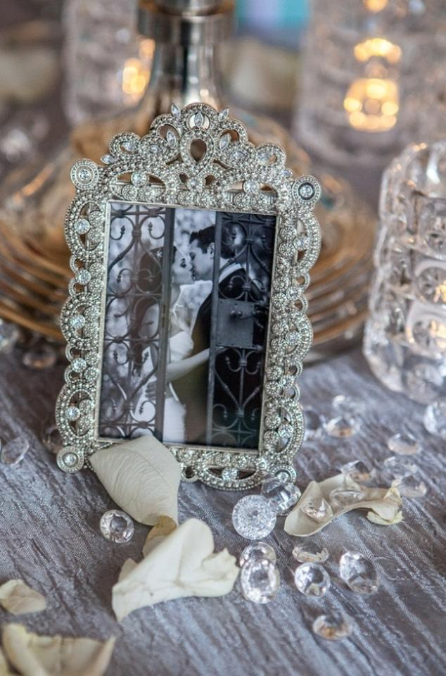 10 Small Vintage Style Jeweled Rhinestone Frames Gatsby Bling Silver ...