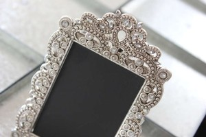 10 Small Vintage Style Jeweled Rhinestone Frames Gatsby Bling Silver Diamond Table Number Frame Ornate Picture Reception Decoration