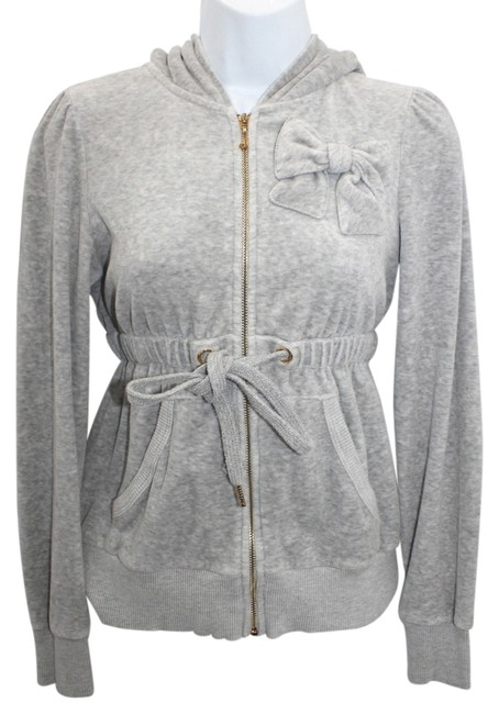 Juicy Couture JUICY COUTURE LIGHT GRAY HOODED VELOUR JACKET S