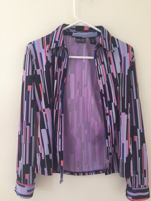 New York & Company Button Down Shirt Purple/Black