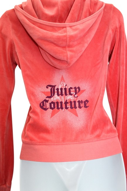 Juicy Couture JUICY COUTURE GRAPEFRUIT VELOUR HOODED JACKET S