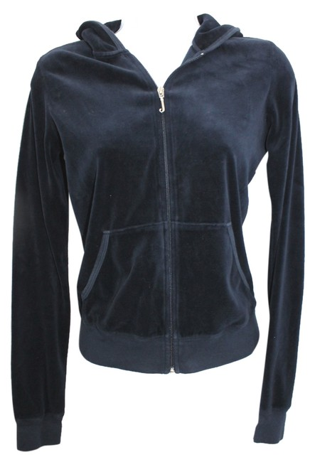 Juicy Couture JUICY COUTURE NAVY BLUE VELOUR HOODED JACKET M