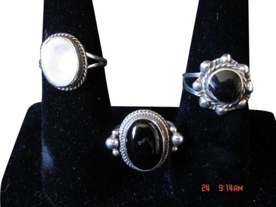 Native American Navajo NATIVE AMERICAN NAVAJO ONYX & MOTHER OF PEARL STERLING SILVER 3 LOT RINGS 6-7.5