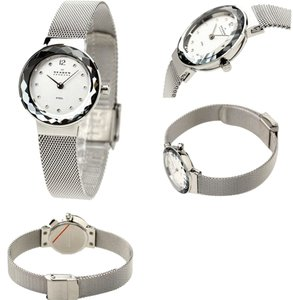 Skagen Denmark Skagen Women's Applied Genuine Swarovski Crystal Hour Markers Watch