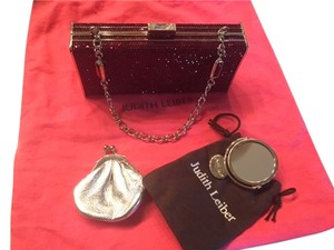 Judith Leiber minaudiere Red Excellent Condition Gems red burgundy Clutch