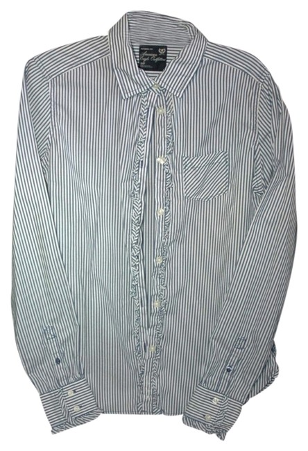 American Eagle Outfitters Button Down Shirt blue & white stripe