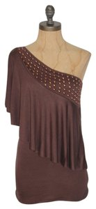 Jaloux One Shoulder Grecian Top BROWN