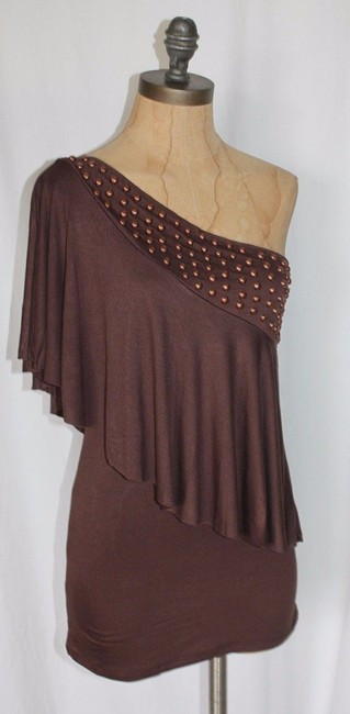 Jaloux One Shoulder Grecian Beaded Night Out Top BROWN