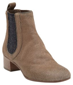 Chanel Taupe Navy Gore Elastic Light Beige Boots