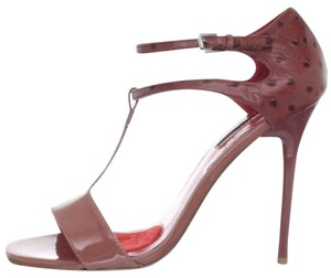 Charles Jourdan Ostrich Heel Patent Leather Mauve Sandals