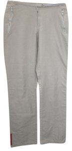 Prada Gray Nylon Casual Straight Pants LIGHT GRAY