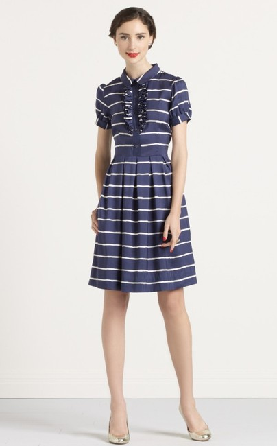 Kate Spade Silk Shirt Shirtdress Violetta Sailor Nautical Striped White Belted Ruffled Ruffle Dress