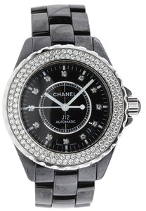 Chanel Chanel J12 Black Ceramic Original Diamond Bezel & Dial - H2014