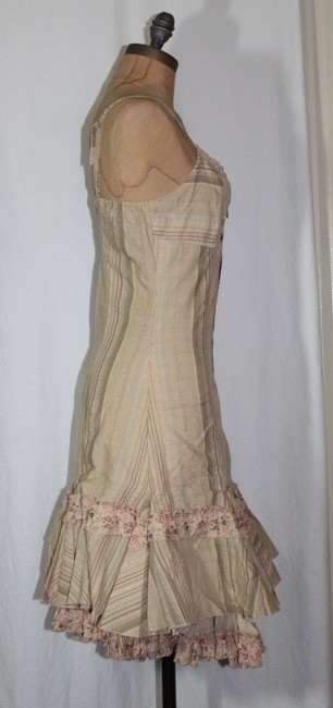 Anthropologie short dress BEIGE Striped Exposed Zipper on Tradesy