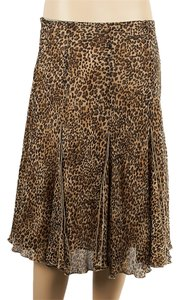 Dana Buchman Animal Print Silk Skirt Leopard