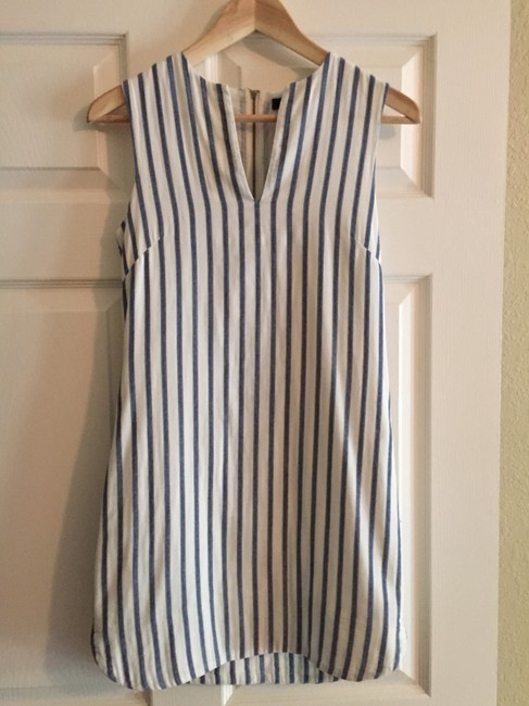 BCBGMAXAZRIA short dress white and blue Peplum Sleeveless on Tradesy