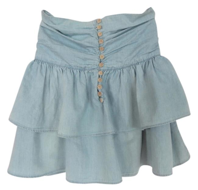 Zara Summer Spring Denim Cotton Lightweight Cute Button Up Wood Layer Tier Tiered Tiered Skirt Light Blue