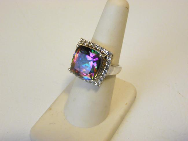Item - Sterling Silver 11.09ctw Rainbow Quartz and White Topaz 7 Ring