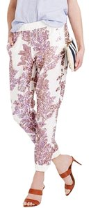 J.Crew Sequin Linen Capri/Cropped Pants White/Iridescent Sequin