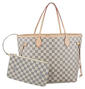 Louis Vuitton Designer Tote in Grey and White, Tan Leather