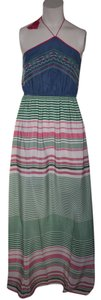 Green, Blue, White and Pink Maxi Dress by Flying Tomato