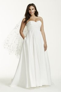 David's Bridal Faille Strapless Empire Ball Gown Wedding Dress