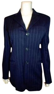 Ralph Lauren Jacket Size 4 P405 NAVY BLUE PIN STRIPED Blazer