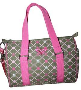 Roxy Satchel in Pink and Green Multi with White