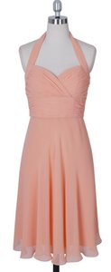 Peach Halter Sweetheart Pleated Waist & Bust Chiffon Size:8 Dress