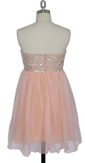 Peach Chiffon Crystal Beads Bodice Sweetheart Short Feminine Bridesmaid/Mob Dress Size 18 (XL, Plus 0x)