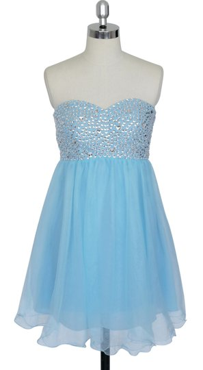 Blue Chiffon Crystal Beads Bodice Sweetheart Short Feminine Bridesmaid/Mob Dress Size 18 (XL, Plus 0x)