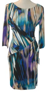 Calvin Klein Designer Slinky Watercolor Tie Dye Ombre Medium Large Dress