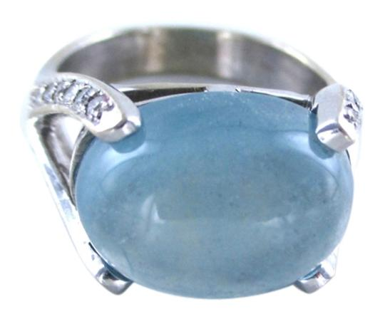 Other 18K SOLID WHITE GOLD RING ENGAGEMENT BLUE QUARTZ 28 DIAMOND 0.50 CARAT SZ 7