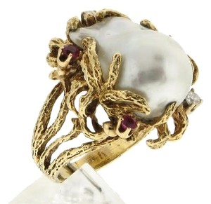 Other WHOLESALE - Must see - designer Cocktail 14k gold pearl diamond ruby organic ring