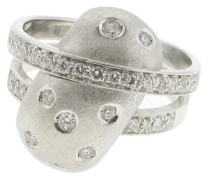 DIAMONDSY Italian 18k white gold ring with 9/10 carats of diamonds