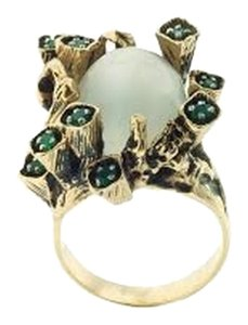 Cocktail ring - MUST SEE- 14K Yellow gold, cabochon moonstone & green emeralds organic ring