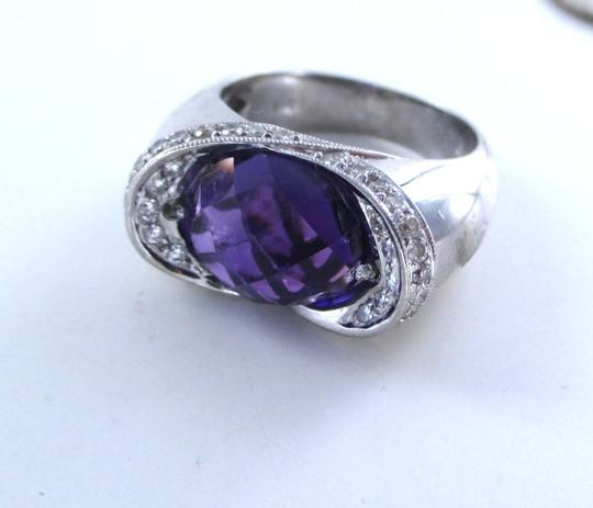 Other 18K SOLID WHITE GOLD RING ENGAGEMENT BAND AMETHYST 32 DIAMONDS 0.50 CARAT SZ 7